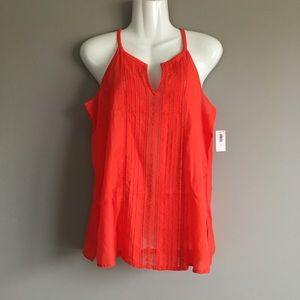 Old Navy | Orange Embroidered Perforated Tank S